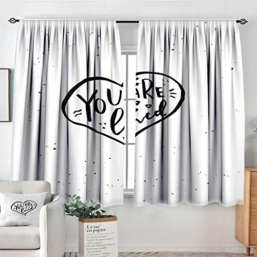 Elliot Dorothy Customized Curtains Romantic,You are Loved Hand Drawn Style Phrase in a Valentines Heart Shape Stars and Dots,Black White,Wide Blackout Curtains, Keep Warm Draperies, Set of 2 52