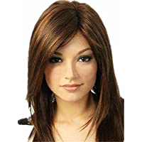 Hyperia Women's Short Straight Bob Style Synthetic Brown Mix Blonde Highlights Hair Wigs for Women