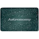 Memory Foam Bath Mat,Constellation,Astronomy Class Scientific School Decor Chalkboard Detailed Star ClustersPlush Wanderlust Bathroom Decor Mat Rug Carpet with Anti-Slip Backing,Green White
