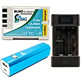 Olympus E-30 Battery with Universal Charger and 3000mAh Portable External Battery Charger - Replacement Olympus BLM5 Digital Camera Battery and Charger