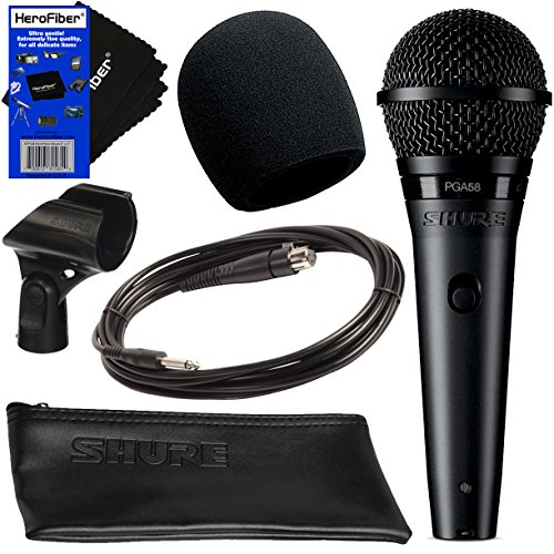 "Shure PGA58 Cardioid Dynamic Vocal Microphone + 15' XLR-1/4"" Cable + Mic Windscreen + Stand Adapter + Zippered Pouch + HeroFiber Gentle Cleaning Cloth - Cardioid Clip"
