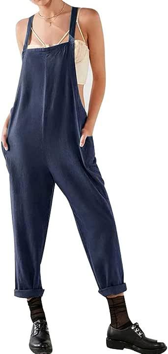 Petos de Pantalones Largo Casual para Mujer, Morbuy Verano Lino ...