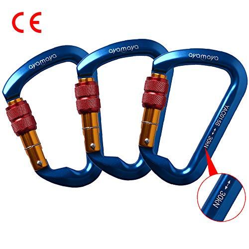 - AYAMAYA Climbing Carabiner 30kn Screwgate Caribeaner 3 Pack, Ultra Tech High Strength Aluminum Screwgate Caribiner Screw Lock D-Ring Chain Clip Hook Outdoor Buckle for Rope Tree Climbing