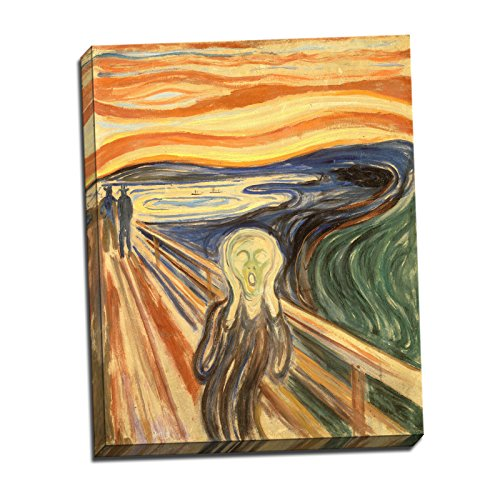 Edvard Munch The Scream Gallery Wrapped Canvas Giclee Print - Finished Size (W) 17.5'' x (H) 22'' [Gallery-Wrap] (S01-05T-Stretched-Border) - Enhanced Image