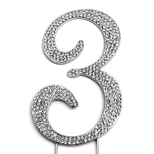 Sparkly Rhinestones Number 3 Cake Topper, Birthday Wedding Anniversary Silver Number 3