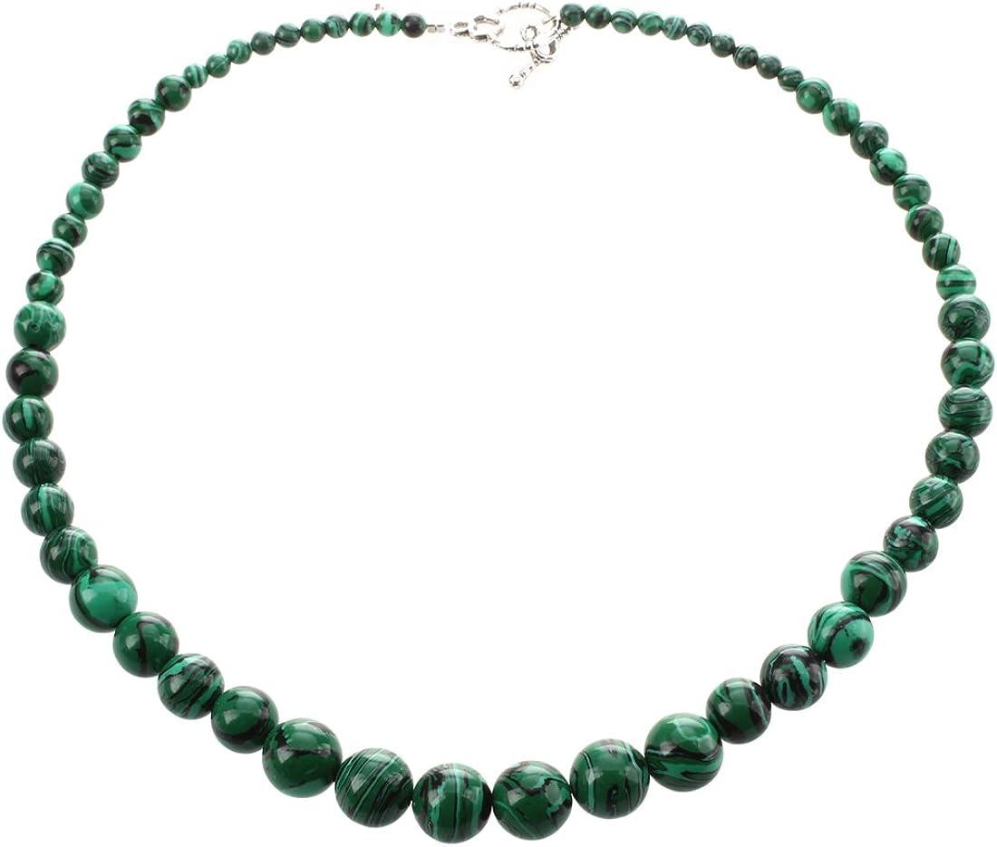 SODIAL(R) de Piedra Collar de malaquita Estilo Etnico 4-12mm Verde