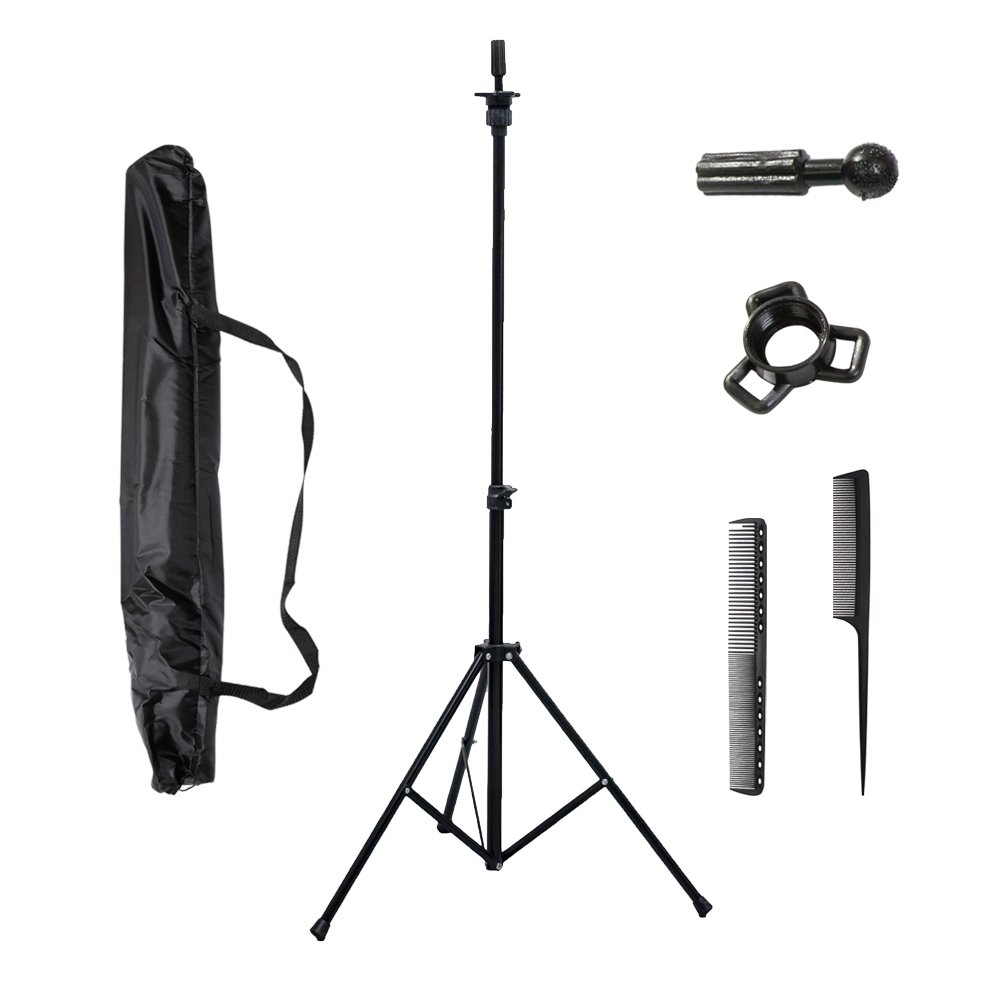 xnicx Wig Mannequin Tripod Holder Adjustable Canvas Block Head Stand with Carry Bag for Trainging Cosmetology Hairdressing