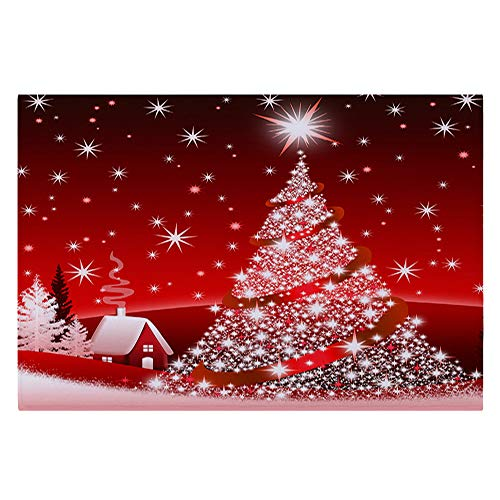 Christmas Mat 40x60CM Merry Christmas Non-Slip Carpet Santa Claus Snowflake Printed Kitchen Red Runner Rugs Home Garden Decorative Floor Mat Christmas Ornament Holiday Doormat -