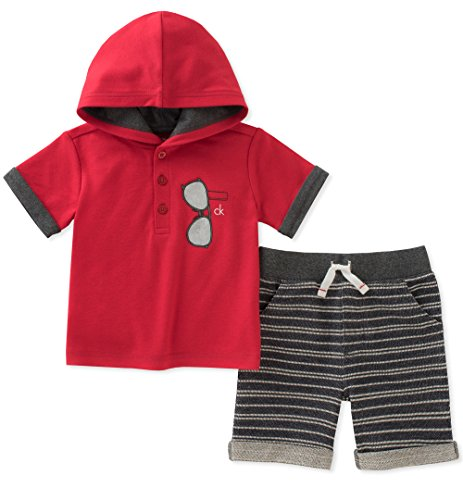 Calvin Klein Baby Boys 2 Pieces Hooded Shorts Set, Red, 6-9 Months by Calvin Klein