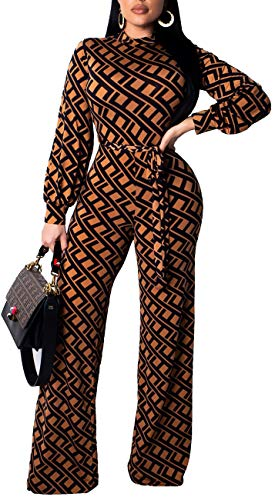 (Women Sexy Jumpsuits Casual Turtleneck Long Sleeve Stripes Stretchable Bandage Wide Leg Long Pants Rompers Party Club Brown)