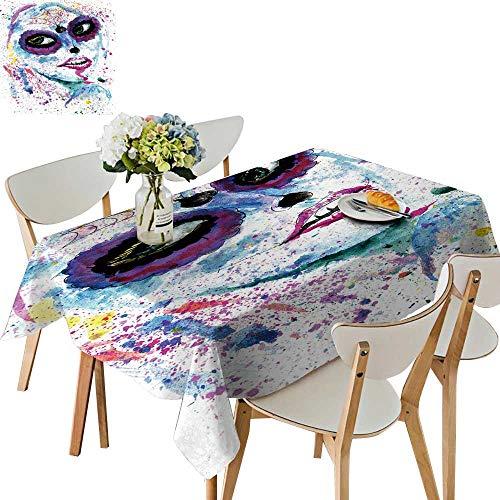 UHOO2018 Printed Fabric Tablecloth Square/Rectangle Halloween Girl Sugar Skull Makeup Paint Wedding Party Restaurant,52 x -