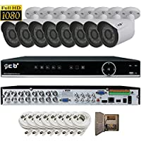 CIB Full HD 16CH 1080P 1920TVL Recording and Display DVR system with 2TB HDD and 8x2.1Megapixel Vandal Bullet Cameras Network Remote Viewing -- H80P16K2T56W-8KIT-W