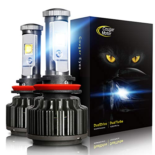 Cougar Motor LED Headlight Bulbs All-in-One Conversion Kit - H11 (H8, H9) -7,200Lm 6000K Cool White CREE (Impala Ss Turbo)