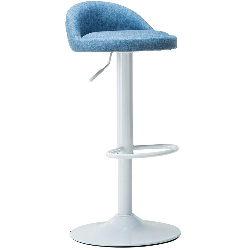 バースツールバーチェアリネンクッションキッチンブレックファーストバーバンク高さ調節可能スツール ( Color : Blue ) B07CQGBC63 Blue Blue