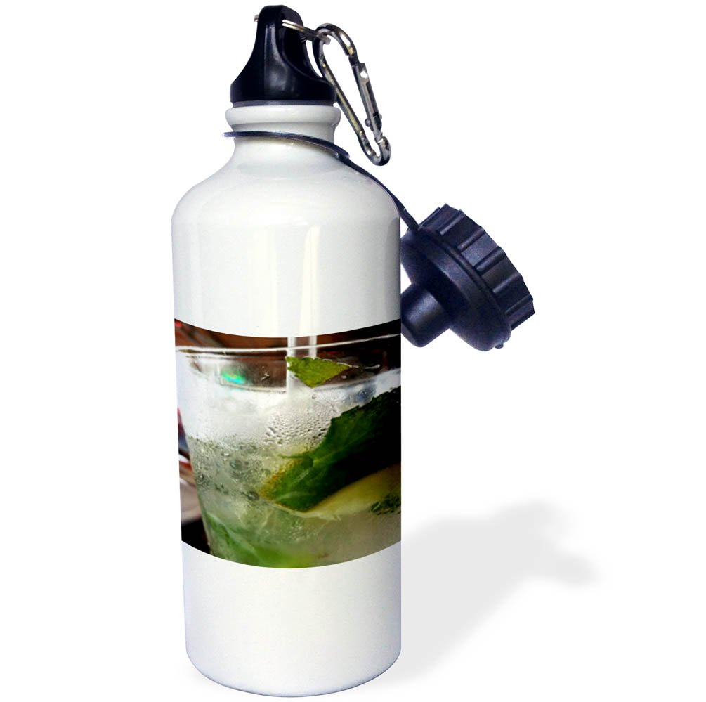 3dRose Abstract Cocktails - Image of Extreme Closeup Of A Mojito Cocktail - 21 oz Sports Water Bottle (wb_256242_1)