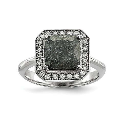 (925 Sterling Silver Dark Gray Ice Cubic Zirconia Cz Band Ring Size 6.00 Fine Jewelry Gifts For Women For Her)