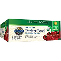 Garden of Life Organic Perfect Food Whole Food Fruit and Greens Bars with Fiber and Probiotics, Vegetarian, Red Raspberry 64g bars (12 per carton)