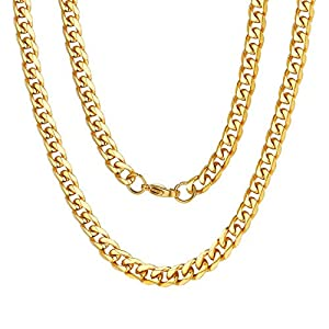 Best Epic Trends 51KPCCgquvL._SS300_ ChainsPro 3/4/6/9/12mm Box/Cuban Link Chain Necklace,14/18/22/24/26/28/30 inch, 316L Stainless Steel/18K Gold Plated…