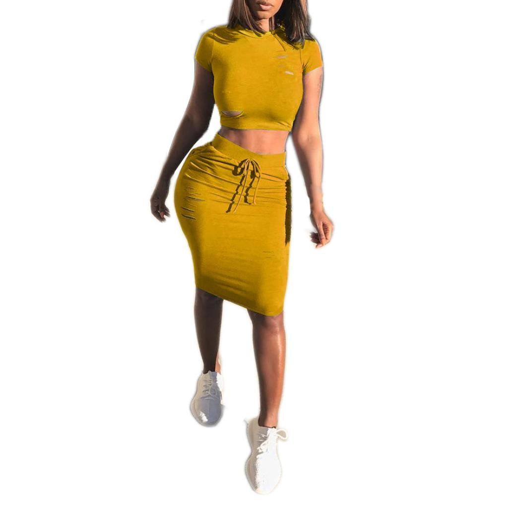 Caopixx Summer Two Pieces Women O-Neck Hollow Short Sleeve Slim Fit Skirt Casual Party Dresses