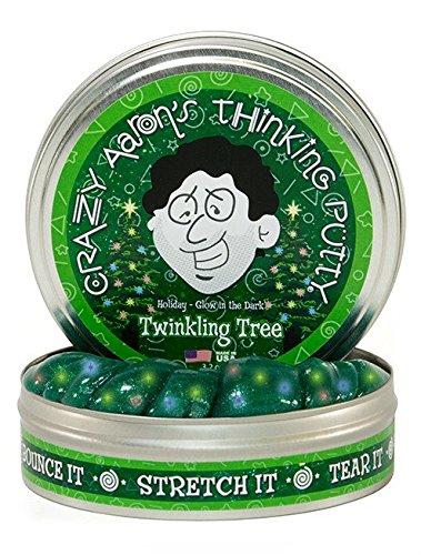 Crazy Aaron's Schlaue Knete- Glitzerner Weihnachtsbaum (Twinkling Tree) mit UV Lampe