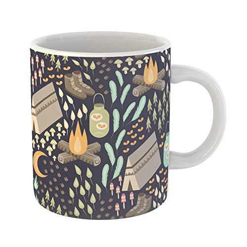 Emvency Coffee Tea Mug Gift 11 Ounces Funny Ceramic Fun Camping Various and Outdoors Including Campfire Tent Hiking Boots Fireflies Gifts For Family Friends Coworkers Boss Mug -