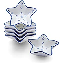 Hoomeet Porcelain Mini Ramekins/Dipping bowls/Dessert bowls, Great for Cream Brulee, Ice Cream, Snack and Condiment, 1.7 oz, Set of 6, Star-Shaped with Hand-painted Rims and Dots (blue dots)
