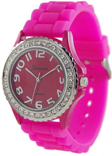 Geneva Platinum Womens Watch - Geneva Platinum Women's 6886.HotPink Pink Rubber Quartz Watch with Pink Dial