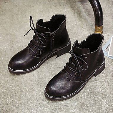 For Calf Black US8 Lace Mid CN39 UK6 Toe Fashion Boots Pu Gray Women'S Round Casual Shoes Fall Up RTRY Block Heel EU39 Boots Boots Comfort wROTq1p