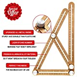 Amenitee Universal Angularizer Ruler - Full Metal Multi Angle Measuring Tool-Ultimate Template Tool-Upgraded Aluminum Alloy Multi Functional Ruler-Perfect Christmas Gift (CHAMPAGNE GOLD)