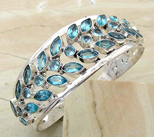 54.50 gms,46.50 Ctw Blue Topaz Quartz .925 Silver Overlay Handmade Fashion Cuff Bangle (Silver Blue Topaz Cuff)