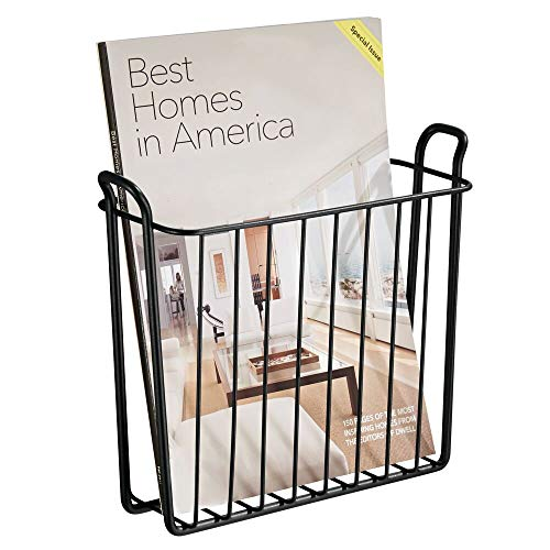 mDesign Decorative Modern Metal Wall Mount Magazine Holder, Organizer - Space Saving Compact Rack for Magazines, Books, Newspapers, Tablets, Laptops in Bathroom, Family Room, Office - Matte - Wall Book Rack Mounted