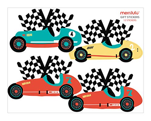(Vintage Race Car - Gift Bag Stickers   Set of 12   Gift Tag   Party Favor)