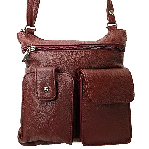 Womens Case Phone Organizer Bag Pocket Wine Adjustable Crossbody Travel Purse Leather X1rwqT1