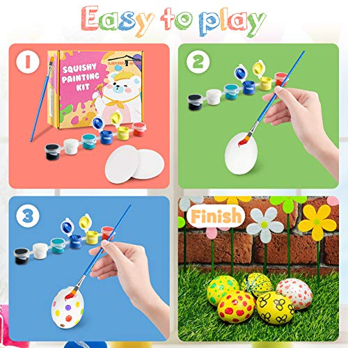 LOVESTOWN DIY Squishy Easter Eggs, 9 Pcs Squishy Egg Painting Kit Easter Egg Craft Easter Basket Stuffers Paint Your Own Squishies for Gifts