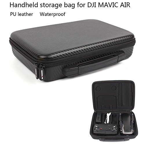 Black Fiber Box (Joint Victory Carbon Fiber Hand Bag Hard PU Leather Handheld Bag Embedded Carrying Travel Case for Mavic Air Drone and Accessories (PU Bag))