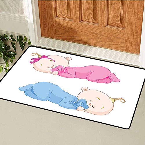 GloriaJohnson Baby Front Door mat Carpet Two Charming Little Twin Siblings Brother and Sister Sleeping in Pajamas Toddler Machine Washable Door mat W29.5 x L39.4 Inch Pink Blue - Brothers Tulip Johnson