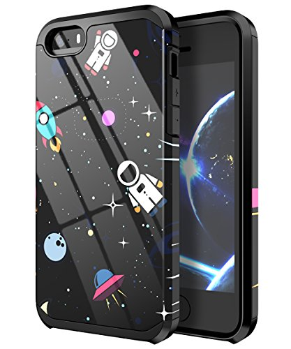 PBRO iPhone 5 Case,iPhone 5s Case,iPhone SE/SE2 Case,Cute Astronaut Case Dual Layer Soft Silicone & Hard Back Cover PC+TPU Protective Shockproof Case for Apple iPhone 5/5s/SE/SE 2 Space/Black (Iphone 5s Phone Covers For Boys)