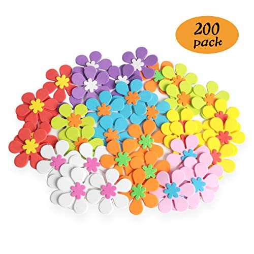 Hapy Shop 200 PCS Foam Flower Shape Sticker Assorted Color Decorative Flower Shapes for Kids DIY Art Project Hand Craft(Not Self-Adhesive)