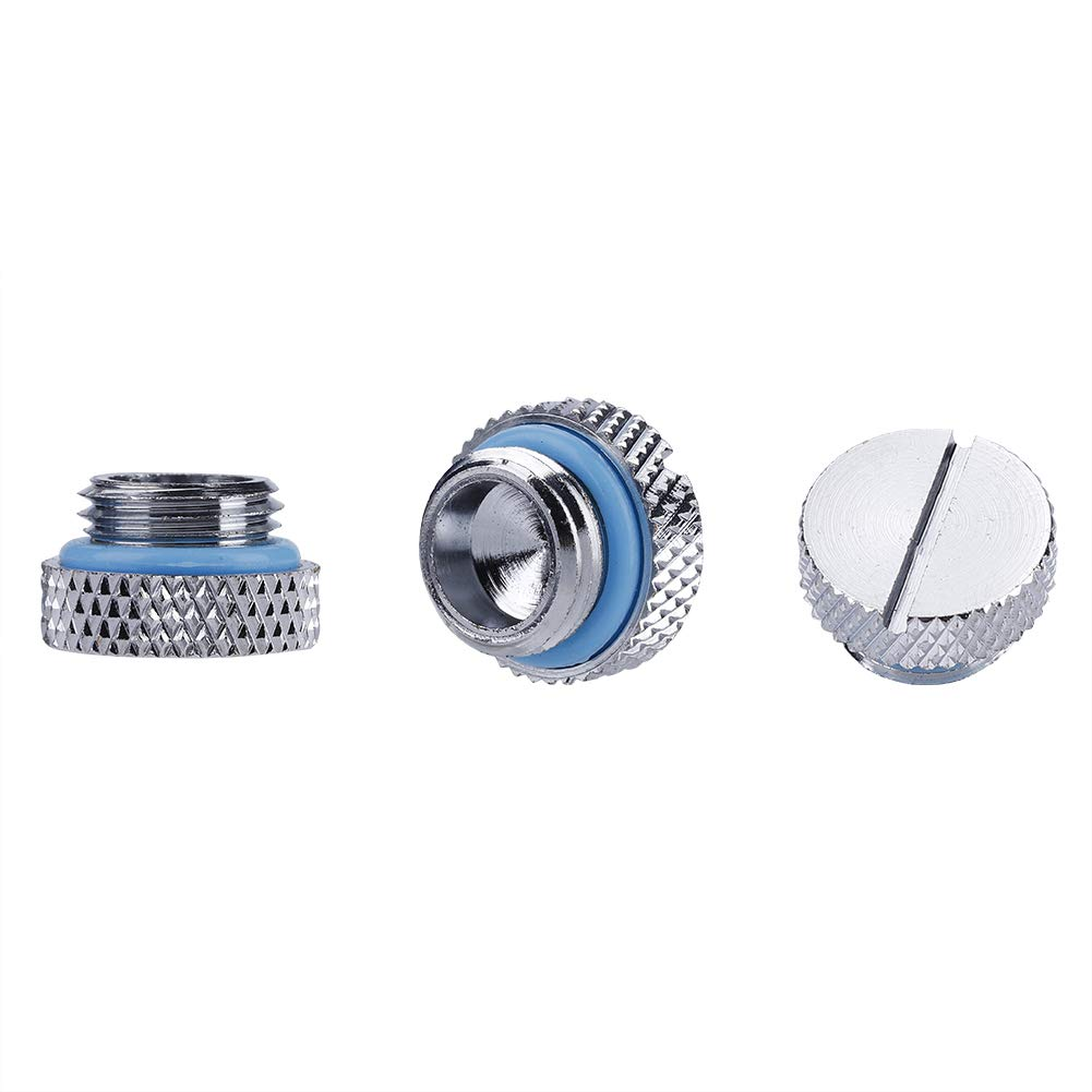 fosa 3PCS Chrome-Plated G1//4 Thread Water Cooling Straight Stop Plug Fittings Front End Slot Lace 2 Word Computer Water-Cooled Connector Fitting with Silicone Seal Ring