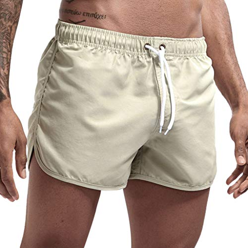 haoricu Men's Beach Shorts Quick Dry Surfing Swim Trunks Elastic Drawstring Shorts Multi-Color Optional Beige