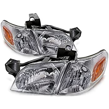 Headlights Depot Replacement for Venture/TransSport/Silhouette/Montana New 4-Piece Headlights Set w/Xenon Bulbs