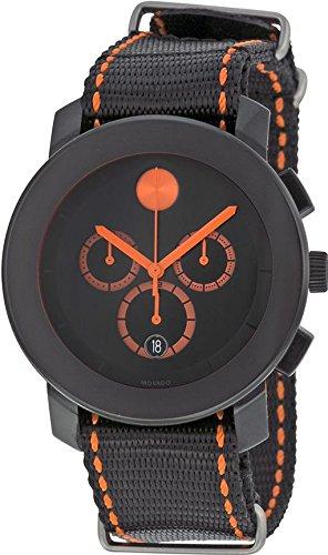 Bold Men's Chronograph Black Cloth Band Steel Case Quartz Date Watch - Movado 3600310