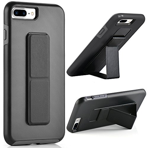 iPhone 8 Plus Case, iPhone 7 Plus Case, ZVE iPhone 7 Plus Kickstand Case Finger Strap Vertical and Horizontal Stand Reinforced Drop Protection Case for iPhone 7 Plus/8 Plus 5.5'' Black and Grey - Kickstand Case
