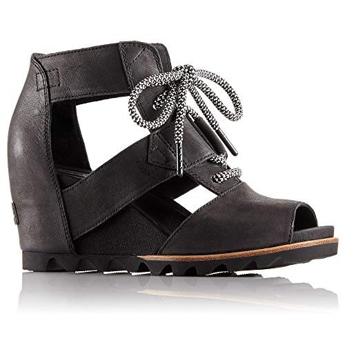 Sorel Womens Joanie Lace Wedge Sandal Black/Sea Salt Size 8.5