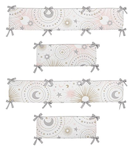 Sweet Jojo Designs Blush Pink, Gold, Grey and White Star and Moon Baby Crib Bumper Pad for Celestial Collection by