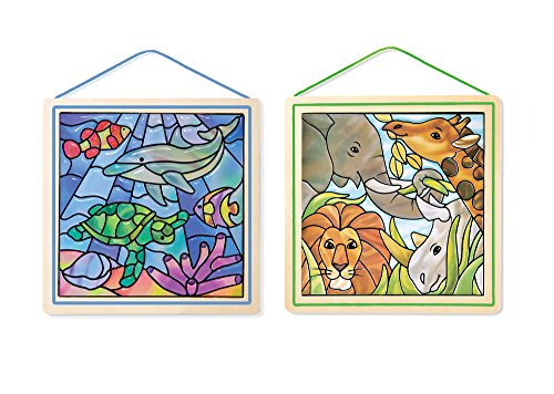 Melissa & Doug Stained Glass Made Easy Activity Kits Set: Ocean and Safari - 190+ Stickers, 2 Frames - Glass Animals Stained