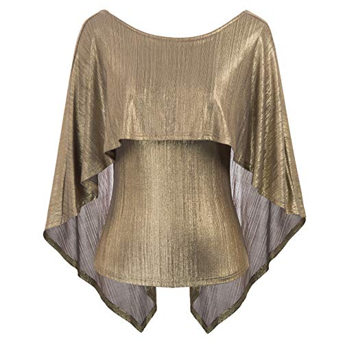 Women's Sexy Irregular Drape Cape Blouse Tops Golden Size M CL875-1 ()