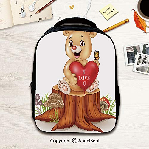 Preschool BackpackCute bear holding red heart balloons on tree stump,12.2