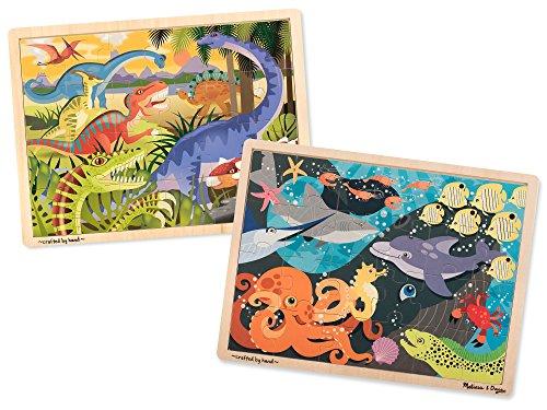 Dinosaur Puzzle Set (Melissa & Doug Animals Wooden Jigsaw Puzzles Set - Ocean Pals and Dinosaurs (24 pcs each))