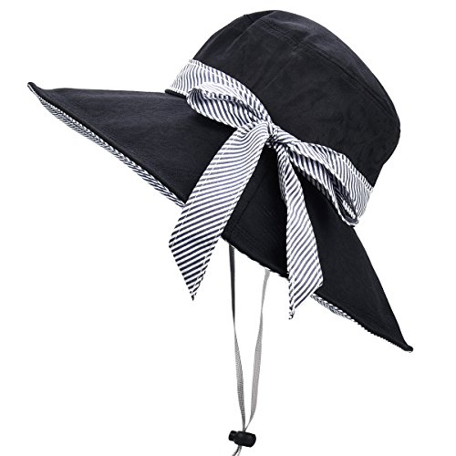 Sun Hats for Women Roll-up Wide Brim Summer Beach Hat Foldable Floppy Cotton ()